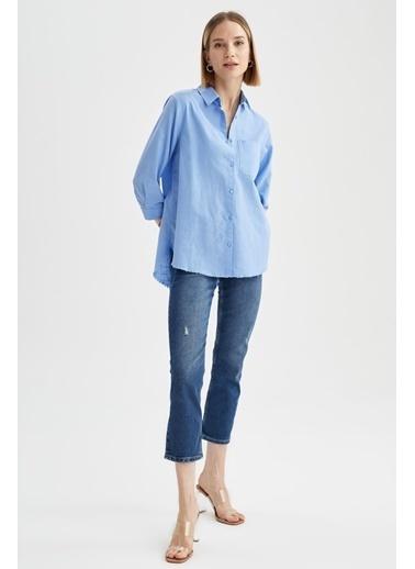 DeFacto Oversize Fit Tek Cepli Tunik Gömlek Mavi
